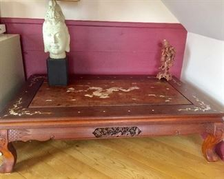 Antique Rosewood mother of pearl inlaid coffee table