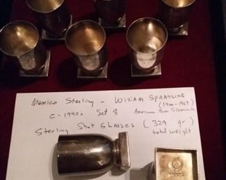 William Spratline Silversmith Sterling Shot Glasses