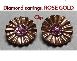 1Lot 177 Pr 14K Gold Ruby Diamond earrings. ROSE GOLD Clip