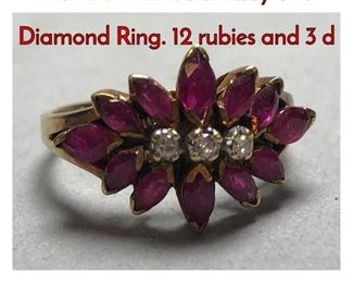 1Lot 178 14K Gold Ruby and Diamond Ring. 12 rubies and 3 d