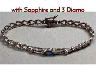 1Lot 179B 14K White Gold Bracelet with Sapphire and 3 Diamo