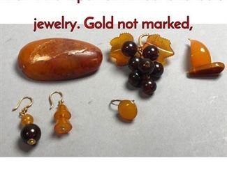 1Lot 179C 6pc Lot Amber and Gold jewelry. Gold not marked,