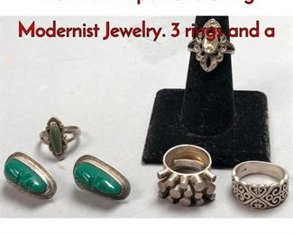 1Lot 179D 6pc Lot Sterling Modernist Jewelry. 3 rings and a