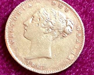 1867 Victoria Dei Gratia Coin