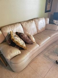 Nice Cream Leather Couch and Loveseat