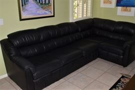 L Black Leather Sleeper Sofa  by The Leather Factory