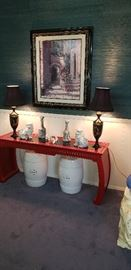 Chinese red table, lamps,  framed vintage print