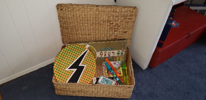 wicker basket with games