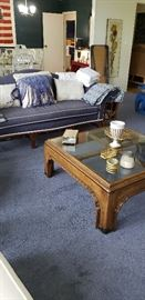 Sofa, glass top coffee table
