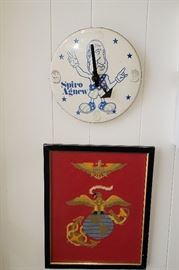 Spiro Agnew clock, framed needlework