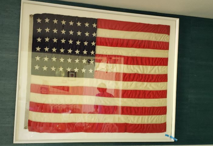 antique wool framed 48 star USA flag