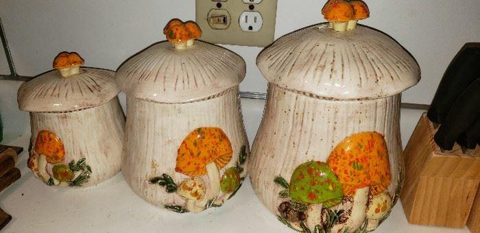 ceramic mushroom canister set