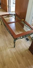 glass top/iron/wood table