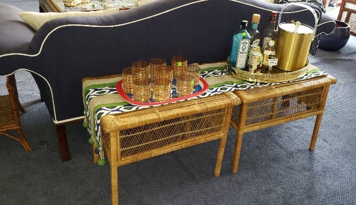 wicker end tables, barware