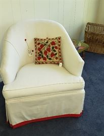 Red/white club chair (2)
