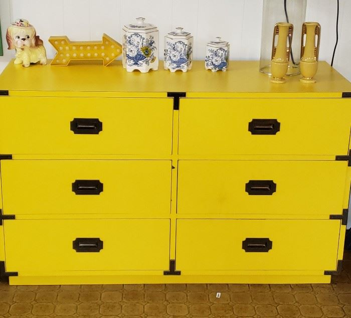 yellow 6-drawer chest