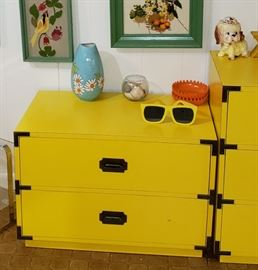 yellow 2 drawer chest