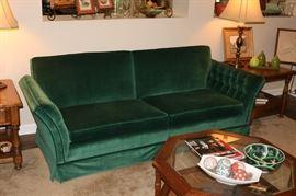 Wonderful Green Velvet couch: excellent condition