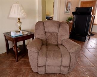 LA-Z-BOY RECLINER, TABLES AND EXERCISE EQUIPMENT.