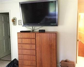 KOMFORT Danish Modern Teak Gentleman's chest.   Large Sony Television.