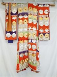 Vintage, authentic, silk, Shiro-Maku and Uchikake Bridal Wedding Kimono Set with Male Kimono. Includes two (2) bridal kimonos (Shiro-Maku and Uchikake) and one (1) male kimono. According to the estate owner, these kimonos were brought over to the U.S. in 1953 by a WWII bride from Japan. The wedding kimono for the bride actually consists of two different kimonos. The traditional white Japanese wedding kimono is called Shiro-Maku. Shiro meaning white and Maku meaning pure. The white wedding kimono is worn for the wedding ceremony and then the elaborate, rich patterned silk brocade kimono called Uchikake is worn over the white kimono at the wedding reception. The kimono is made of silk and beautiful silk brocade. The kimono is rich in fine embroidered patterns and scenes of flowers and nature motifs embellish the kimono in rich color.  This third kimono is a male kimono and is traditionally worn by men as daily wear clothing and generally are conservative in color.