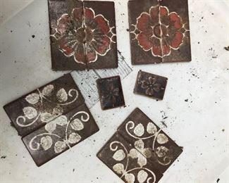 Large box of vintage tile.