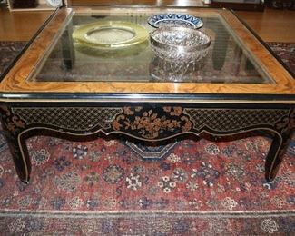 Lacquer wood coffee table with beveled glass insert