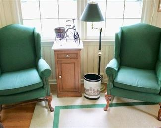 Pair upholstered armchairs
