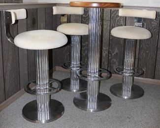 Chrome, ultrasuede and rosewood barstool and table set