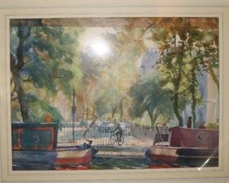 signed watercolor by Hugo Greenville