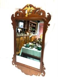 Chippendale style mirror with gold Phoenix bird.
