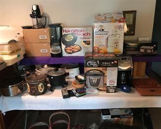 Many nice kitchen appliances, many still in boxes