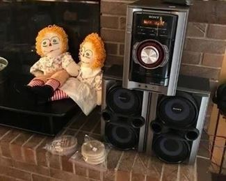 Sony stereo and homemade Raggedy Ann and Andy