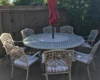 8 piece iron patio table and umbrella