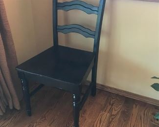 2 Black distressed side chairs
