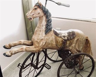 Antique wood horse cast iron base tricycle