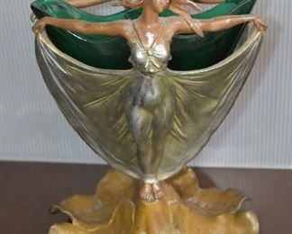 Art Nouveau Bronz with Glass Vase (Rare to have the vase insert)