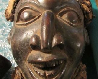 Bamum Cameroon Mask, Many of these masks are Mahogany or Ebony, this one also has the mud hair as was a practice among certain regions.