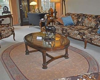 Overview of Living Room with Clocks Sofa Lamps E Allen Table, Sofa
