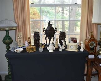 Monroe Fu Dogs, Asian Foo Dog Urn, Stone, Clock, Lamps, Covered Box, Perfume Other Carvings