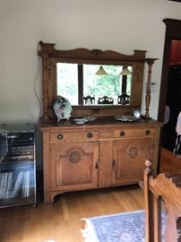 """Oat carved buffet 22""""d x 59""""w x 75""""h asking $220 stereo system also for sale"""