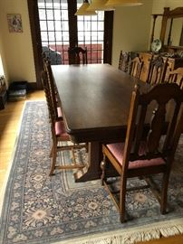 """another view of the table and the oriental 8'2""""  x 12 rug for sale asking $320 for the rug"""