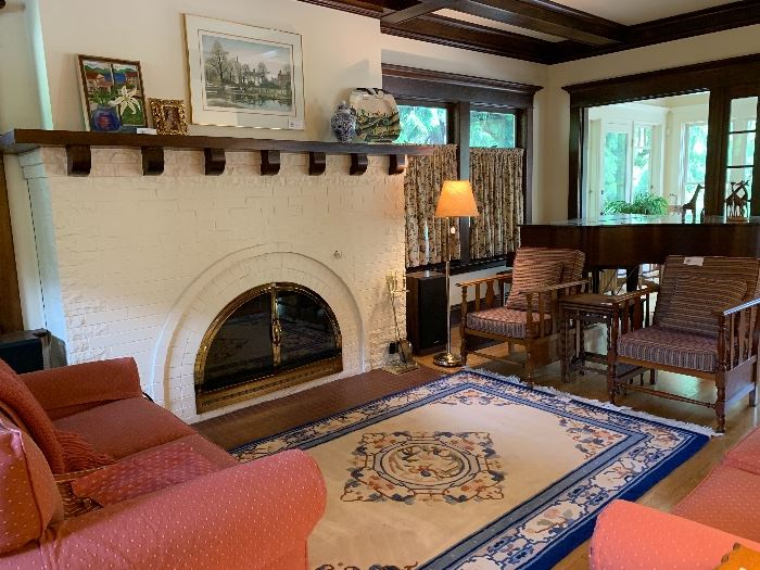 Chinese rug and a pair of oak armchairs along with Norwalk Furniture Company Sofa and Loveseat