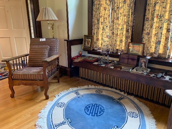 Crosses of all sizes and decor along with another view of the chinese rug and one of the Morris chairs for sale