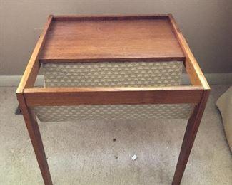 Vintage teak side table with magazine sling