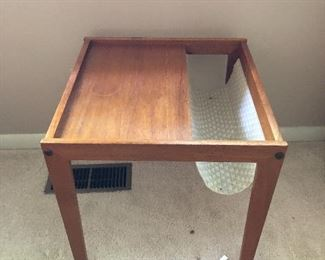 Vintage teak side table with magazine sling  BUY IT NOW $120