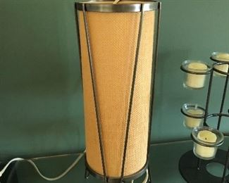 Mid Century Burlap Covered Cylinder Lamp on Wire Hair-Pin Legs Buy IT NOW $100
