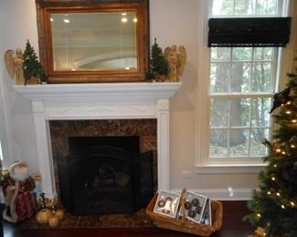 Antique Gilt Ornate Beveled Mirror..nothing like Christmas in Lake Forest..and in the Living Room!!