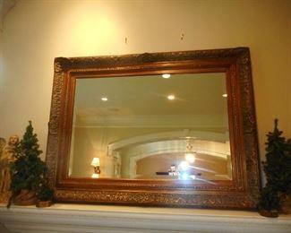 Antique  Beveled Ornate Gilt Mirror