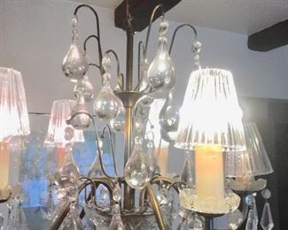 Five candlebra chandelier with crystals